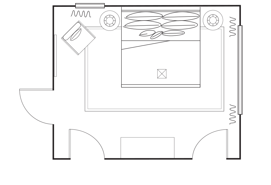 Neutral Master Bedroom floorplan Si and Oui 5
